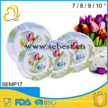 top venda melamina flor impressão jantar diferentes formas jantares