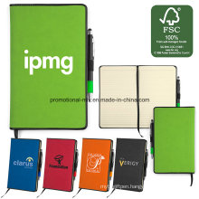 Fsc Certificated Paper Notebooks Sets with Pen Holders/Bookmark/Ballpoint
