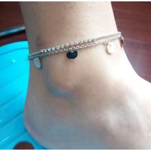 Double Metal Silver Plated Anklet with Circular Pendant