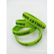 Bracelete personalizado do silicone da tinta de Debossed do logotipo para a promoção