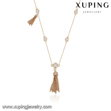 43764 fashion wholesale china 18k beautiful metal tassels jewelry necklace