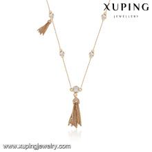 43764 moda atacado china 18k belas borlas de metal colar de jóias