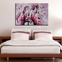Impression Colorful Hand Painted Modern Girl Oil Painting Wall Art