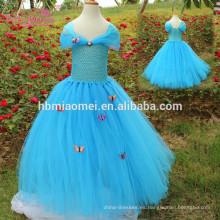 2017 nueva llegada alibaba niños al por mayor ropa facotry nueva moda hecha a mano de diseño largo bebé hinchable tutu vestido para el rendimiento