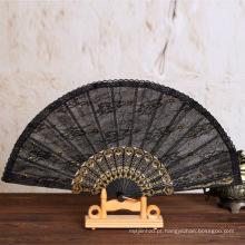 Não-tecidos de estilo chinês, dobrando o ventilador de mão de arco-íris de madeira