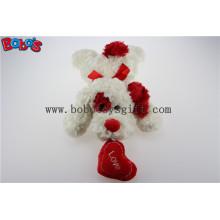 Bobo's Plüsch Weiß Liegen Welpen Tier Spielzeug mit rotem Ohr und Herz Kissen in Großhandel Preis Bos1192