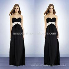 Schwarze Brautjungfer-Muster mit Falten-Schärpe 2014 Chiffon- trägerloses Kleid mit einem Schatz-Ausschnitt-langes Reich-Abschlussball-Kleid NB0737