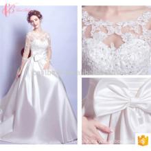 Voguish lange Hülse eine Linie Appliqued neue Art-Spitze-Hochzeits-Kleid