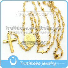 Vacuum plating gold high quality religious jewelry stainless steel Mother Mary and Jesus cross necklace with 8mm rosary beads