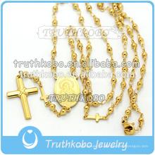 Vácuo de chapeamento de ouro de alta qualidade religiosa jóias de aço inoxidável Mãe Mary e Jesus colar cruz com rosário de 8mm
