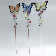 Metal Set Of 3 Butterflies Garden Stake