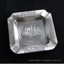 Tour de París Recuerdo Premium Emboss Engrave Logo Metal Cenicero (B5002)