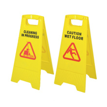 Plastic yellow safety sign board, road sign caution wet floor