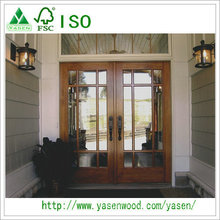 Hot Sale Top Quality Entry Doors French Wood Double Leaf Door