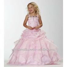Vestidos de fiesta de encargo de las muchachas de la flor del vestido de bola acanalada applqued rosado CWFaf4881