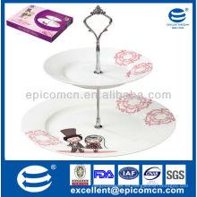 Venta caliente forma redonda 2 capas de pastel de porcelana standware