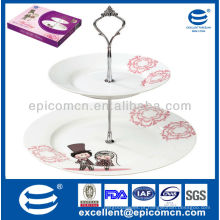 Hot vendendo forma redonda 2 camadas bolo de porcelana stand standware