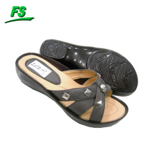 Fashion PU ladies slipper with Rubber sole