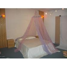 Drei Farben Flocking Punkte Square Top Umbrella Mosquito Net