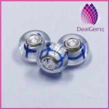 Blue Lattice shape 4mm rondelle large hole glass beads silver jewelry