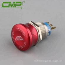 Interruptor de parada de emergencia impermeable de cabeza roja de 19 mm o 22 mm