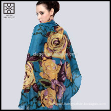Fashion Silk Flower Printed Scarf
