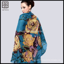 Мода шелковый цветок печатных шарф