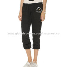 Casual Ladies' French Terry Long Pants, Made of 98% Cotton and 2% Spandex