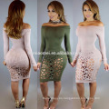 2016 Hot Sale One Word Collar Ladies Sexy Evening Party Fashion Dresses