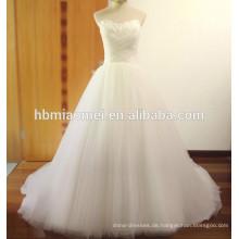 Suzhou maßgeschneiderte Winter Bodenlänge Schulter Mädchen Hochzeitskleid mit Schwanz