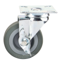 "2"" Grey Rubber Light Duty Caster, 2"" Swivel Side Brake Furniture Caster"