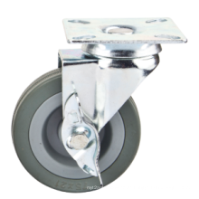 "2 ""Grau Gummi Light Duty Caster, 2"" Swivel Side Bremse Möbel Caster"