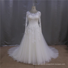 Simple long sleeve traditional latest wedding gown designs 2013