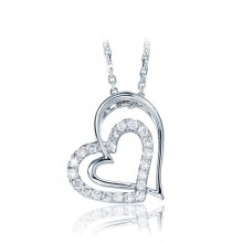 18k white gold famous silver Jewelry necklace brand double heart pendant