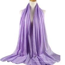 2017 design de luxo planície de linho de seda mulheres hijab árabe dubai cachecol