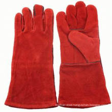 "14"" Red Color Leather Welding Gloves"