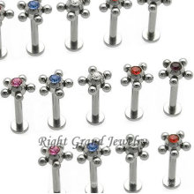 Fancy kleine Kugel um CZ Crystal Lip Piercing