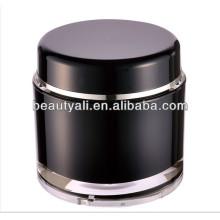 200g redonda cosméticos negro acrílico jarra al por mayor