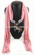 Fashion jewelry animal pendant necklace charm scarf Tassel shawl Wrap scarves scarf accessories jewelry stole bufunda
