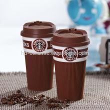 Taza de cerámica de los starbucks con la tapa y el abrigo del silicio, taza de café caliente de los starbucks de la venta, starbucks de la taza