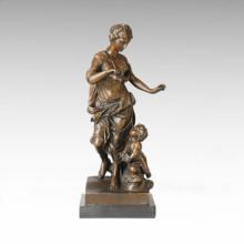 Estatua clásica de la estatua que cultiva la escultura de bronce de la flor TPE-118