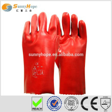 Sunnyhope red PVC safety and industrial gloves
