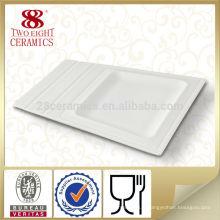 Chaozhou usine plat blanc hôtel porcelaine assiettes, plaques rectangulaires