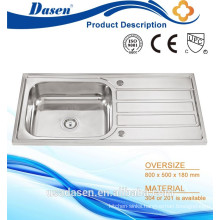 Stainless steel malaysia freestanding kitchen sink 100 X 50cm with single drainboard