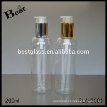 Nueva botella de plástico transparente del diseño 200ml con el cuello del metal y la bomba del animal doméstico, muestra libre, OEM en China, pequeña orden barata del precio