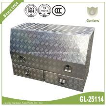 Caja de herramientas de camión de aluminio de alta cara con cajones