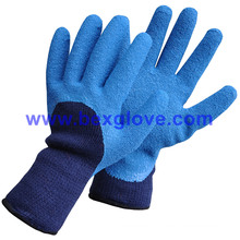 7 Gauge Acrylic Liner, Extra Thick Terry Knitted & Brushed, Latex Coating, 3/4 Crinkle Finish Safety Gloves