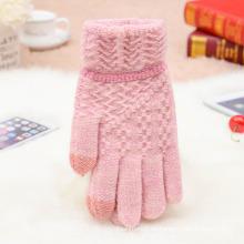 Fábrica caliente de la manera al por mayor caliente barato hecho punto personalizado lindo divertido invierno mujeres tejidos guantes de lana