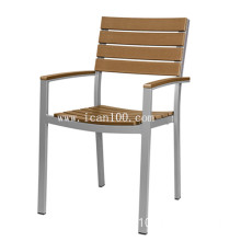 Commercial Outdoor Restaurant Chair in Aluminum / Brown/ Arms