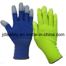 Colorful Work Glove with PU Finger Top Coated (PN8016)
